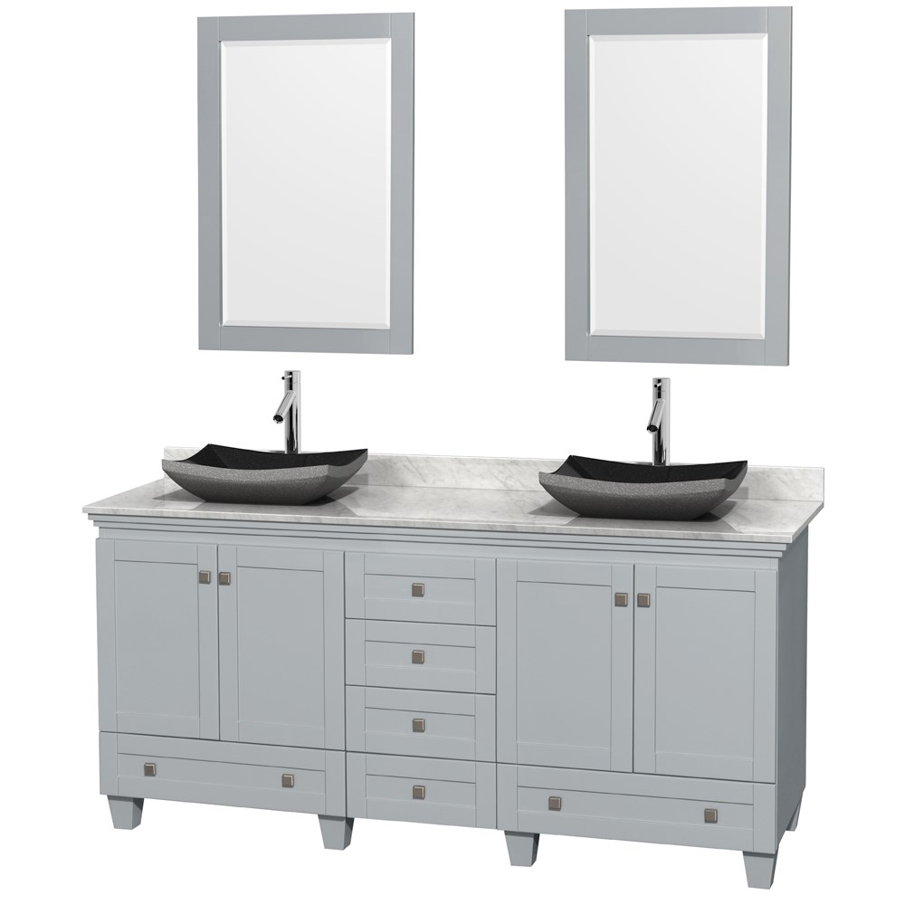 Acclaim 72 inch Double Bathroom Vanity for Vessel Sinks by Wyndham Collection Oyster Gray