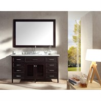 "Ariel Kensington 61"" Single Sink Vanity Set with Carrera White Marble Countertop - Espresso D061S-ESP"