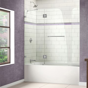 """Bath Authority DreamLine AquaLux Frameless Hinged Tub Door, 56"""", 60"""" with Extender Panel SHDR-3348588-EX by Bath Authority DreamLine"""