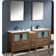 "Fresca Torino 72"" Walnut Brown Modern Double Sink Bathroom Vanity with Side Cabinet, Integrated Sinks, and Mirrors FVN62-301230WB-UNS"