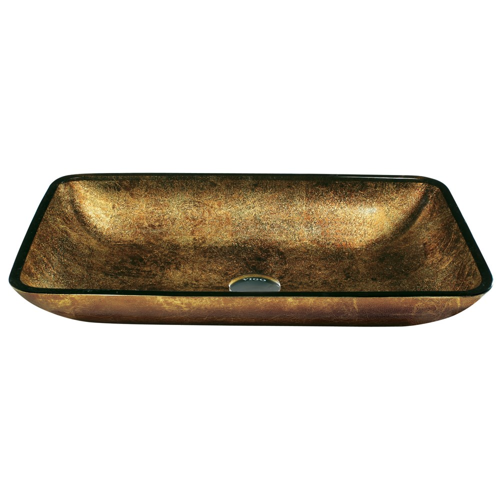 VIGO Rectangular Copper Glass Vessel Bathroom Sinknohtin