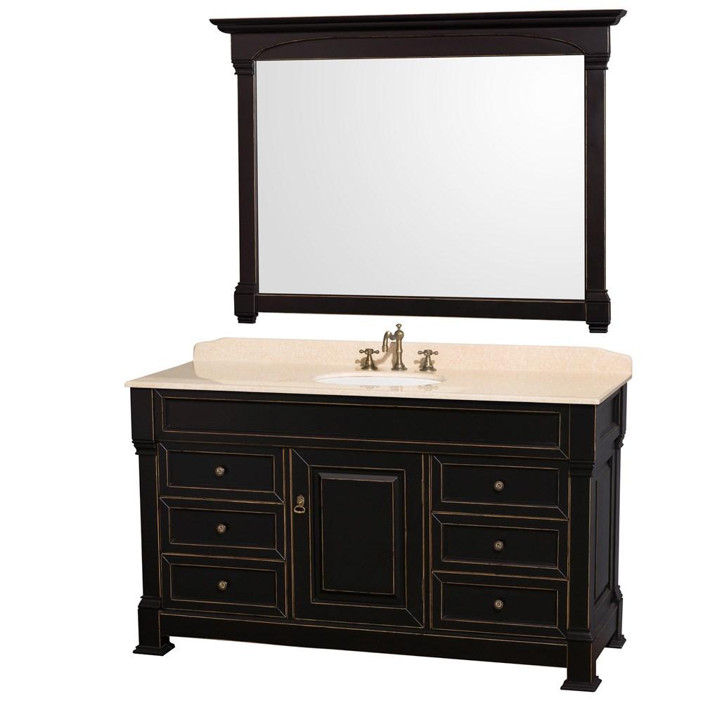 "Andover 60"" Traditional Bathroom Vanity Set by Wyndham Collection - Blacknohtin Sale $1799.00 SKU: WC-TS60-BLK :"