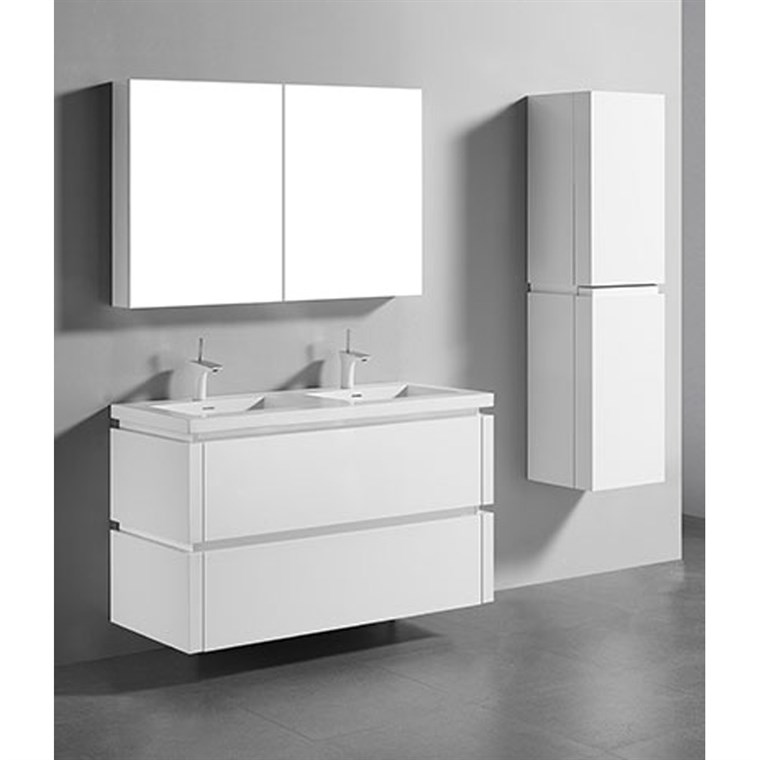 "Madeli Cube 48"" Double Wall-Mounted Bathroom Vanity for Integrated Basin - Glossy White B500-48D-002-GW"