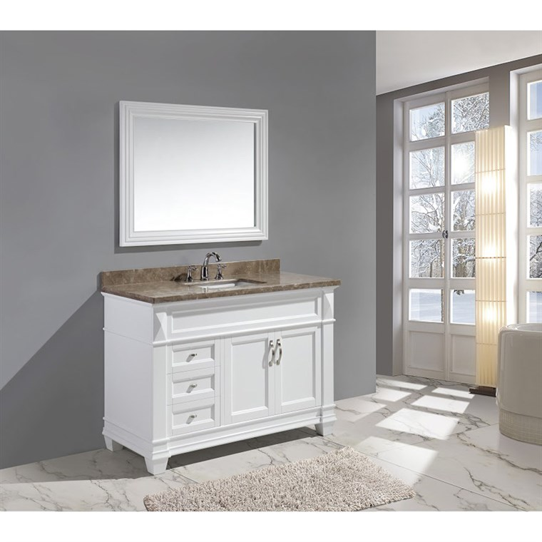 "Design Element Hudson 48"" Single Sink Vanity Set with Marble Top - White DEC059B-W-G"