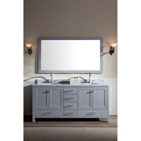 "Ariel Cambridge 73"" Double Sink Vanity Set with Carrera White Marble Countertop - Grey A073D-GRY"