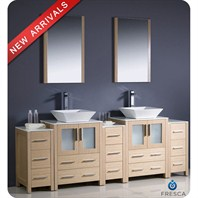 "Fresca Torino 84"" Light Oak Modern Double Sink Bathroom Vanity with 3 Side Cabinets & Vessel Sinks FVN62-72LO-VSL"