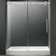 "VIGO 60-inch Frameless Shower Door 3/8"" Clear/Chrome Hardware with White Base - Center Drain VG6041CHCL60WL"