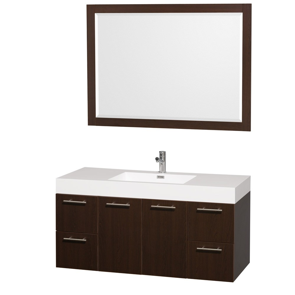"Amare 48"" Single Bathroom Vanity in Espresso, Acrylic Resin Countertop, Integrated Sink, and 46"" Mirror WCR410048ESAR"