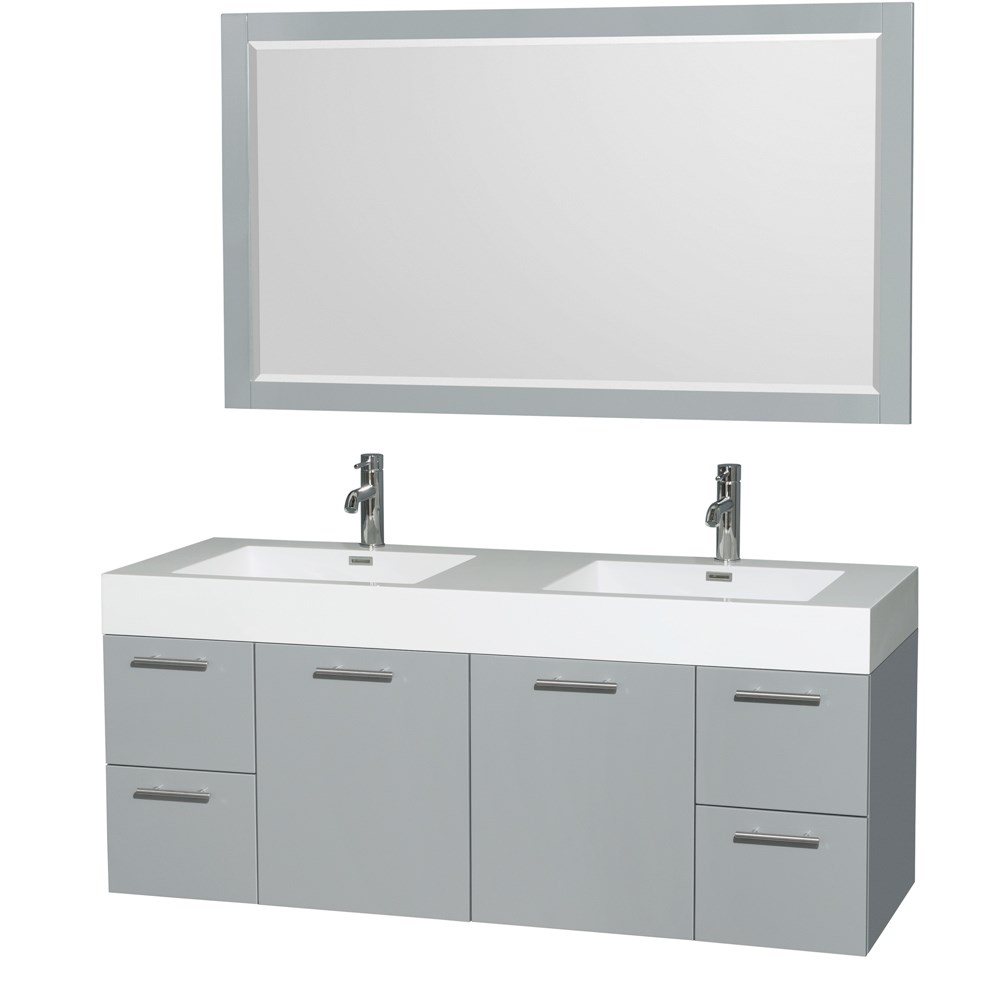 Amare 60 inch Wall Mounted Double Bathroom Vanity Set with Integrated Sinks by Wyndham Collection Dove Gray