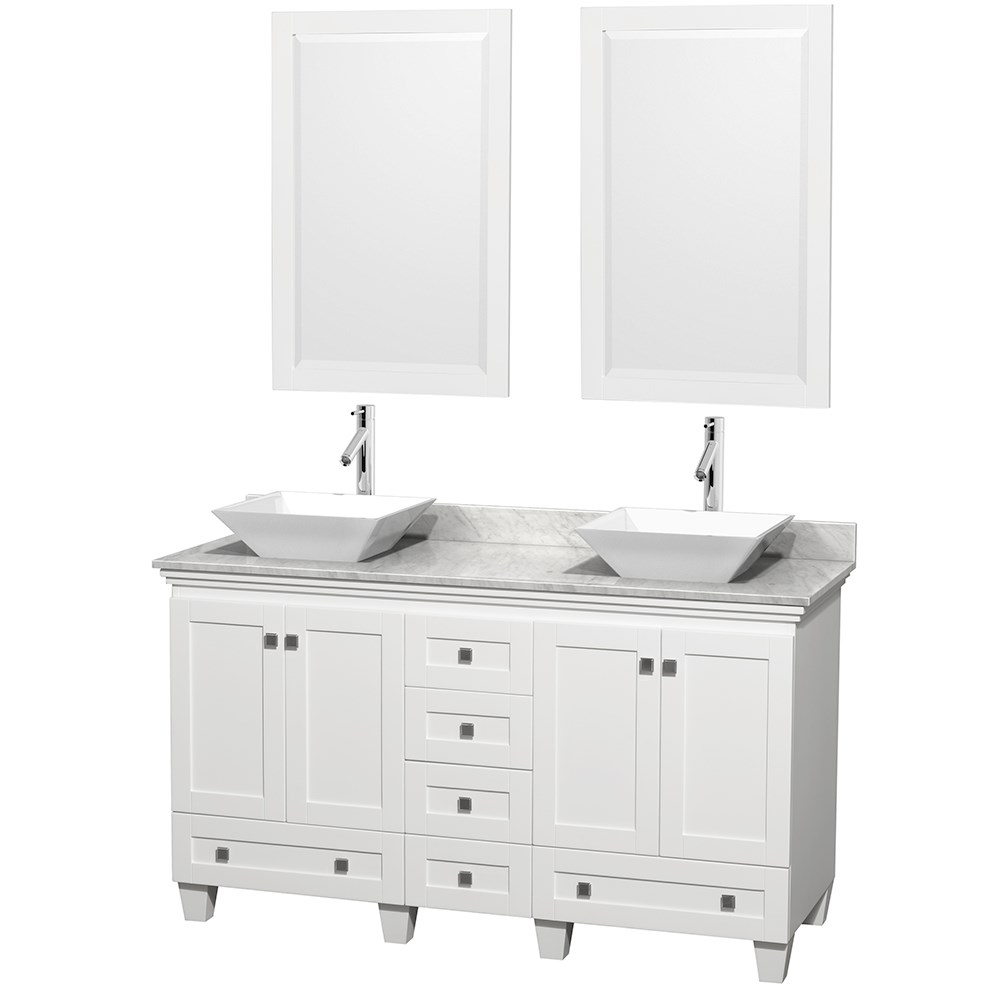 "Acclaim 60"" Double Bathroom Vanity for Vessel Sinks by Wyndham Collection - Whitenohtin Sale $1299.00 SKU: WC-CG8000-60-DBL-VAN-WHT :"