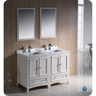 "Fresca Oxford 48"" Traditional Double Sink Bathroom Vanity - Antique White FVN20-2424AW"