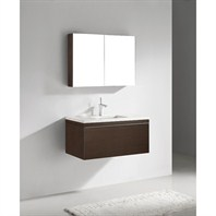 "Madeli Venasca 36"" Bathroom Vanity with Quartzstone Top - Walnut B990-36-002-WA-QUARTZ"