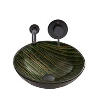 VIGO Green Asteroid Glass Vessel Sink and Olus Wall Mount Faucet Set in Antique Rubbed Bronze Finish VGT845