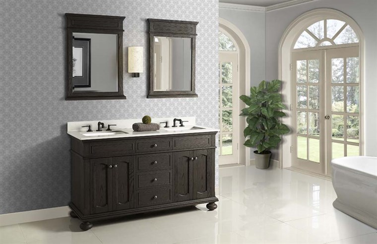 "Fairmont Designs Oakhurst 60"" Double Bowl Vanity - Burnt Chocolate 1536-V6021D"
