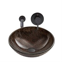 VIGO Copper Shield Glass Vessel Sink and Olus Wall Mount Faucet Set in Antique Rubbed Bronze Finish VGT887