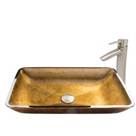 VIGO Rectangular Copper Glass Vessel Sink and Shadow Faucet Set in Brushed Nickel Finish VGT514