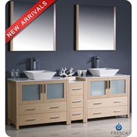 "Fresca Torino 84"" Light Oak Modern Double Sink Bathroom Vanity with Side Cabinet & Vessel Sinks FVN62-361236LO-VSL"