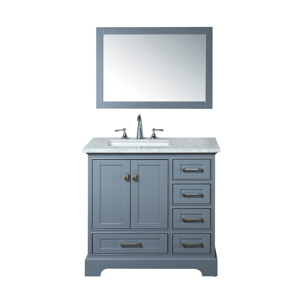 "Stufurhome Newport Grey 36"" Single Sink Bathroom Vanity with Mirror - Grey HD-7130G-36-CR"
