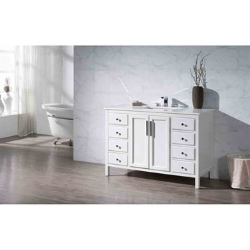 "Stufurhome Emily 49"" Single Sink Bathroom Vanity with White Quartz Top, White TY-6262-49-QZ by Stufurhome"