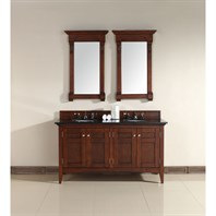"James Martin 60"" North Hampton Double Vanity with Absolute Black Top - Warm Cherry 900-V60D-WCH-ABK"