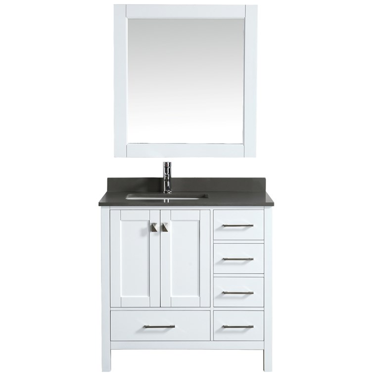 "Design Element London Hyde 36"" Single Sink Vanity - White DEC082F-W-GT"