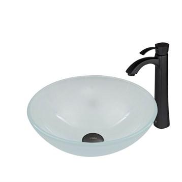 Vigo White Frost Glass Vessel Sink and Otis Faucet Set in Matte Black Finish VGT470 by Vigo Industries