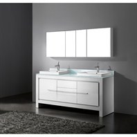 "Madeli Vicenza 72"" Double Bathroom Vanity - Glossy White B999-72D-001-GW"