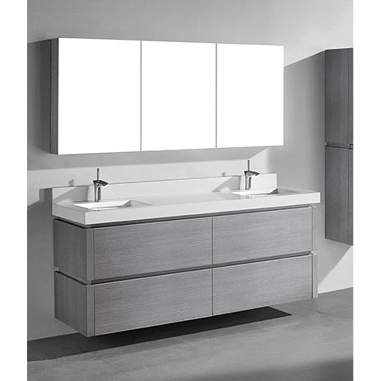 "Madeli Cube 72"" Double Wall-Mounted Bathroom Vanity for Quartzstone Top - Ash Grey B500-72D-002-AG-QUARTZ"