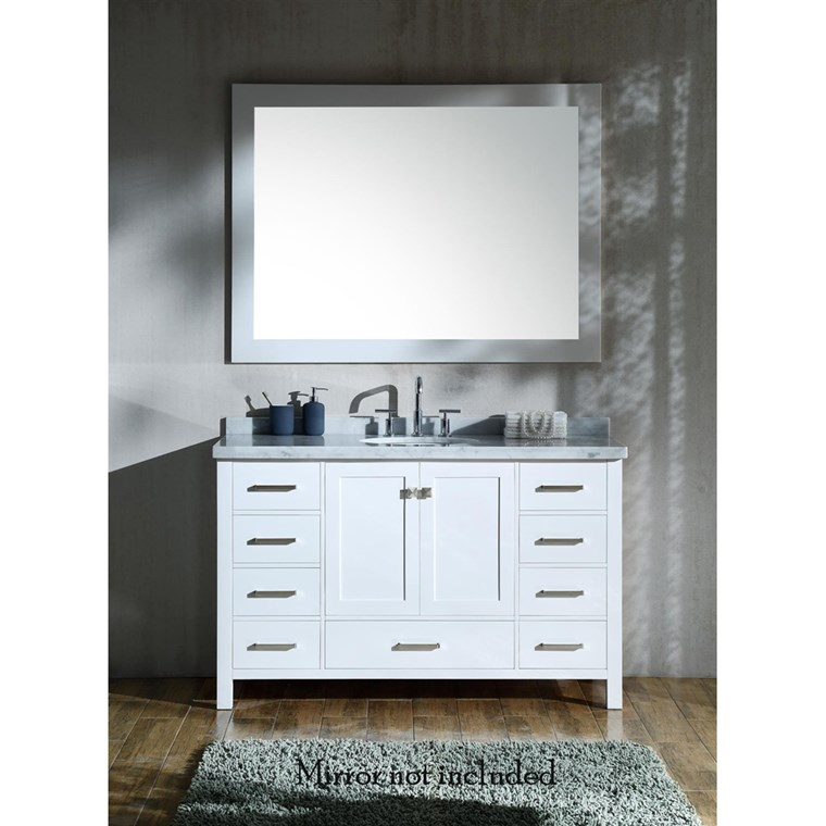 "Ariel Cambridge 55"" Single Sink Vanity with Carrara White Marble Countertop - White A055S-VO-WHT"