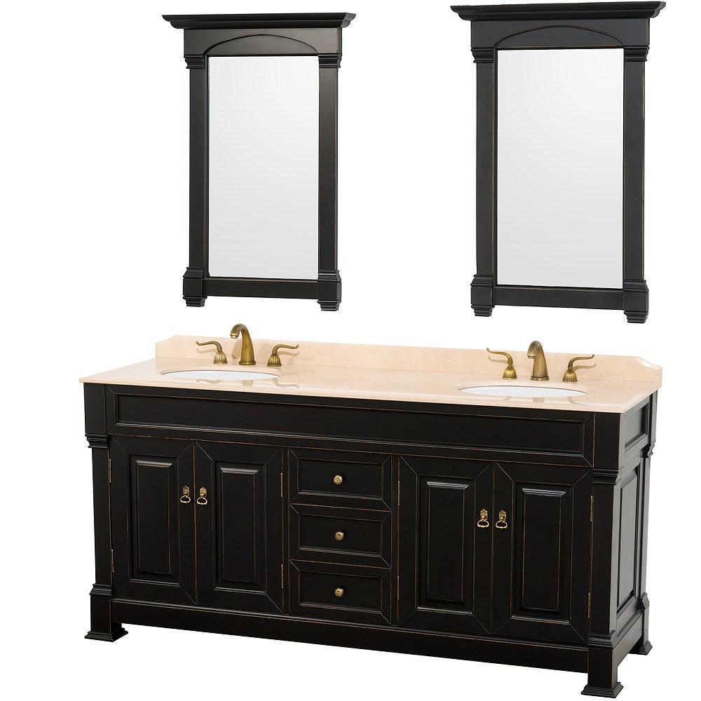 "Andover 72"" Traditional Bathroom Double Vanity Set by Wyndham Collection - Blacknohtin Sale $1999.00 SKU: WC-TD72-BLK :"