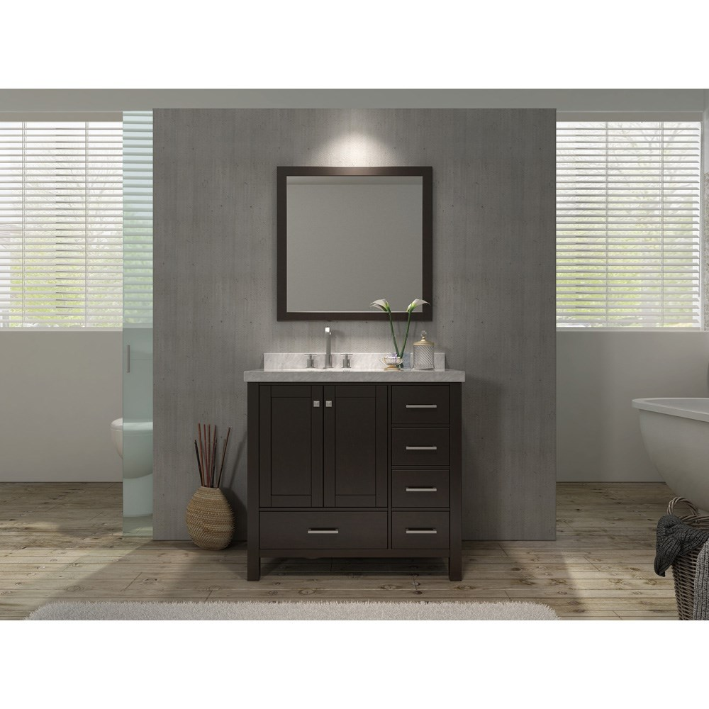 Ariel Cambridge 37 Single Sink Vanity Set With Left Offset And Carrera White Marble Countertop Espresso