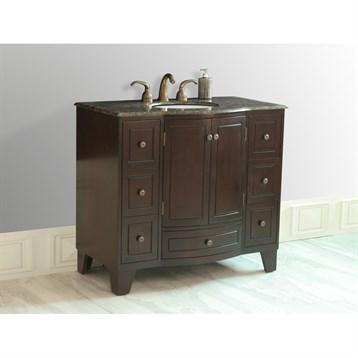 "Stufurhome 40"" Grand Cheswick Single Sink Vanity with Baltic Brown Granite Top, Dark Cherry GM-2206-40-BB by Stufurhome"