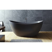 Aquatica Purescape 171 Black Freestanding Solid Surface Bathtub - Matte Black Aquatica PS171M-Blck