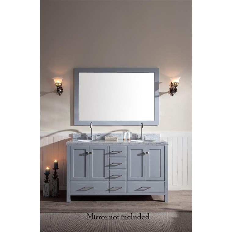 "Ariel Cambridge 61"" Double Sink Vanity with Carrara White Marble Countertop - Grey A061D-VO-GRY"