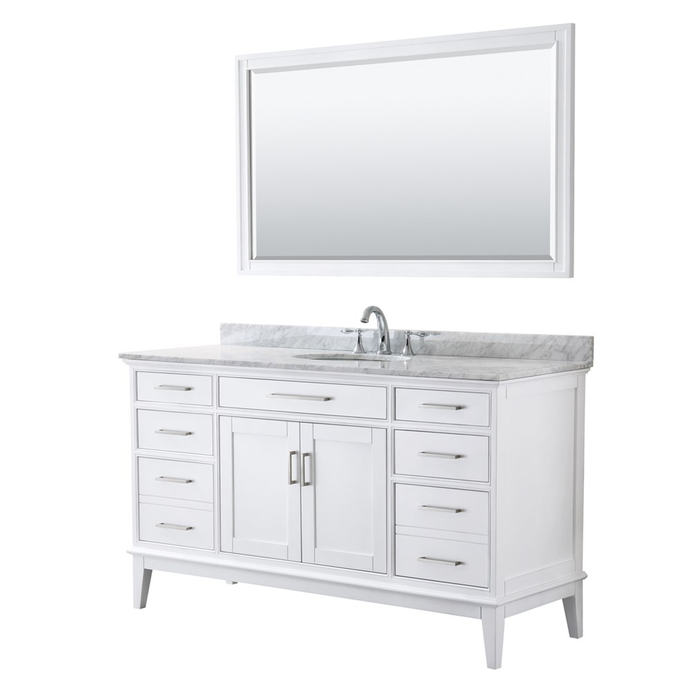 "Margate 60"" Single Bathroom Vanity by Wyndham Collection - White WC-3030-60-SGL-VAN-WHT"