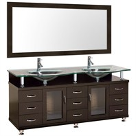 "Accara 72"" Double Bathroom Vanity with Mirror - Espresso w/ Clear or Frosted Glass Counter B706D-72-ESP"