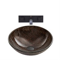 VIGO Copper Shield Glass Vessel Sink and Titus Wall Mount Faucet Set in an Antique Rubbed Bronze Finish VGT888