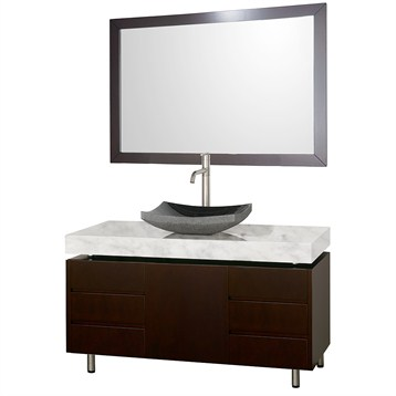"Malibu 48"" Bathroom Vanity Set by Wyndham Collection, Espresso Finish with White Carrera Marble Counter... by Wyndham Collection®"