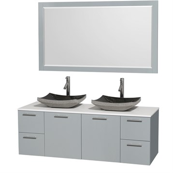"""Amare 60"""" Wall-Mounted Double Bathroom Vanity Set with Vessel Sinks by Wyndham Collection, Dove Gray... by Wyndham Collection®"""