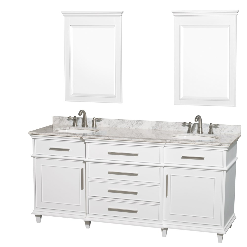 "Berkeley 72"" Double Bathroom Vanity by Wyndham Collection - White WC-1717-72-DBL-WHT"