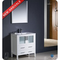 "Fresca Torino 30"" White Modern Bathroom Vanity with Integrated Sink FVN6230WH-UNS"