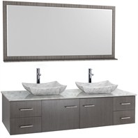 "Bianca 72"" Wall-Mounted Double Bathroom Vanity - Grey Oak Finish with White Carrera Marble Countertop WHE007-72-GROAK-WHTCAR-"