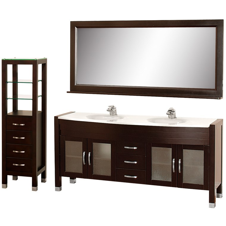 "Daytona 71"" Double Bathroom Vanity Set by Wyndham Collection - Espresso w/ Drawers & Cabinet WC-A-W2200-71-ESP-SET-"