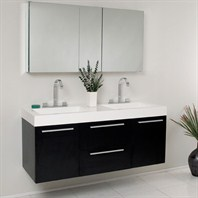 Fresca Opulento Black Modern Double Sink Bathroom Vanity with Medicine Cabinet FVN8013BW