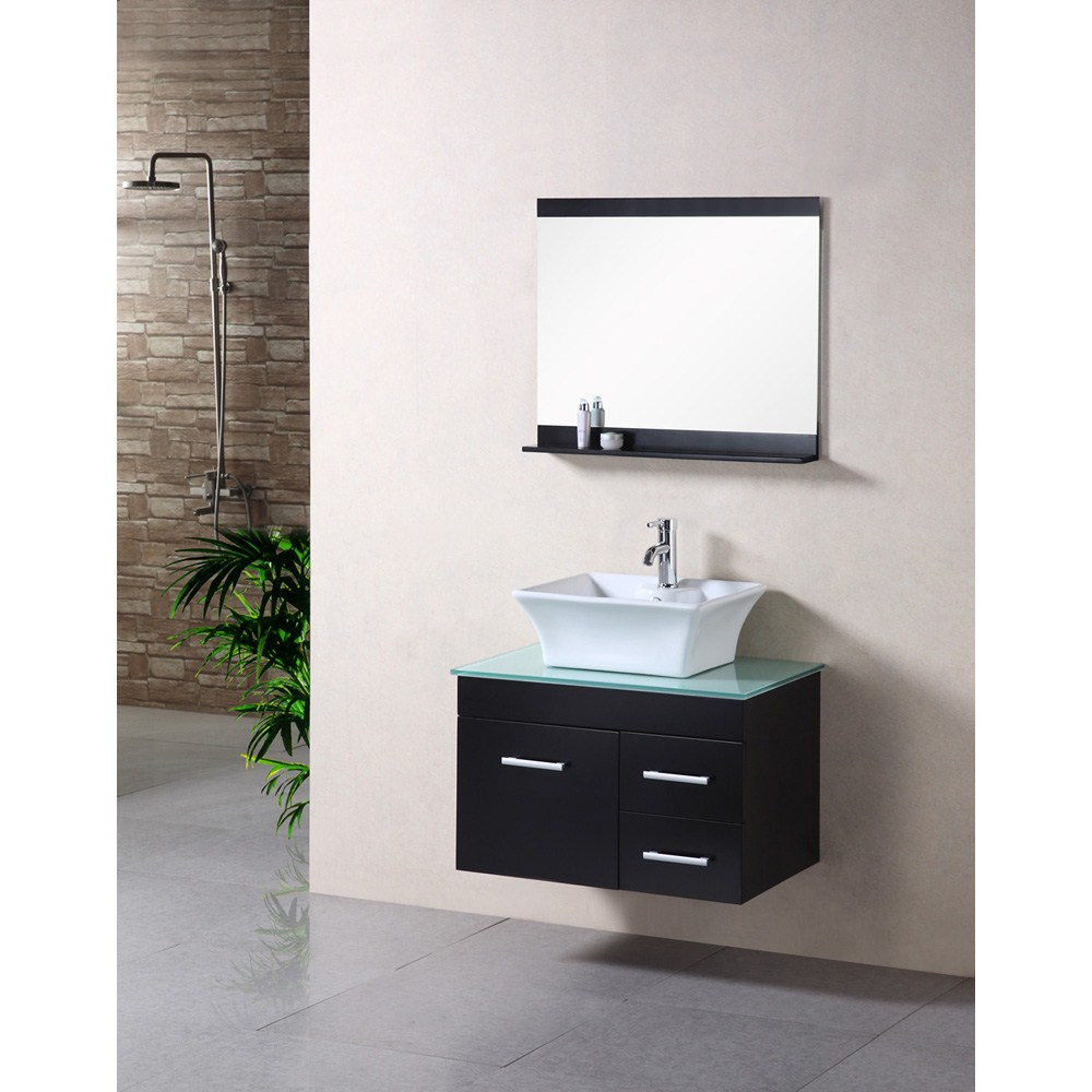 Features Solid wood cabinetTempered glass countertopDesigner porcelain vessel sinkFaucet(s) not includedMatching pop up drainTwo functional pull-out drawers with one single-door cabinetMatching framed mirrorManufacturer provides 1 year warranty How to handle your counterSpec Sheet