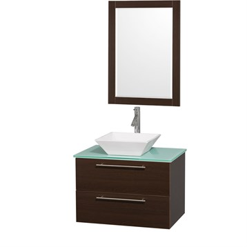 """Amare 30"""" Wall-Mounted Bathroom Vanity Set with Vessel Sink by Wyndham Collection, Espresso WC-R4100-30-ESP- by Wyndham Collection®"""