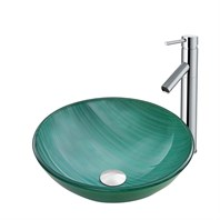 VIGO Whispering Wind Glass Vessel Sink and Dior Faucet Set in a Chrome Finish VGT881