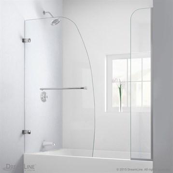 "Bath Authority DreamLine Aqua Uno Framless Hinged Tub Door, 56"", 60"" with Extender Panel SHDR-3534586-EX by Bath Authority DreamLine"