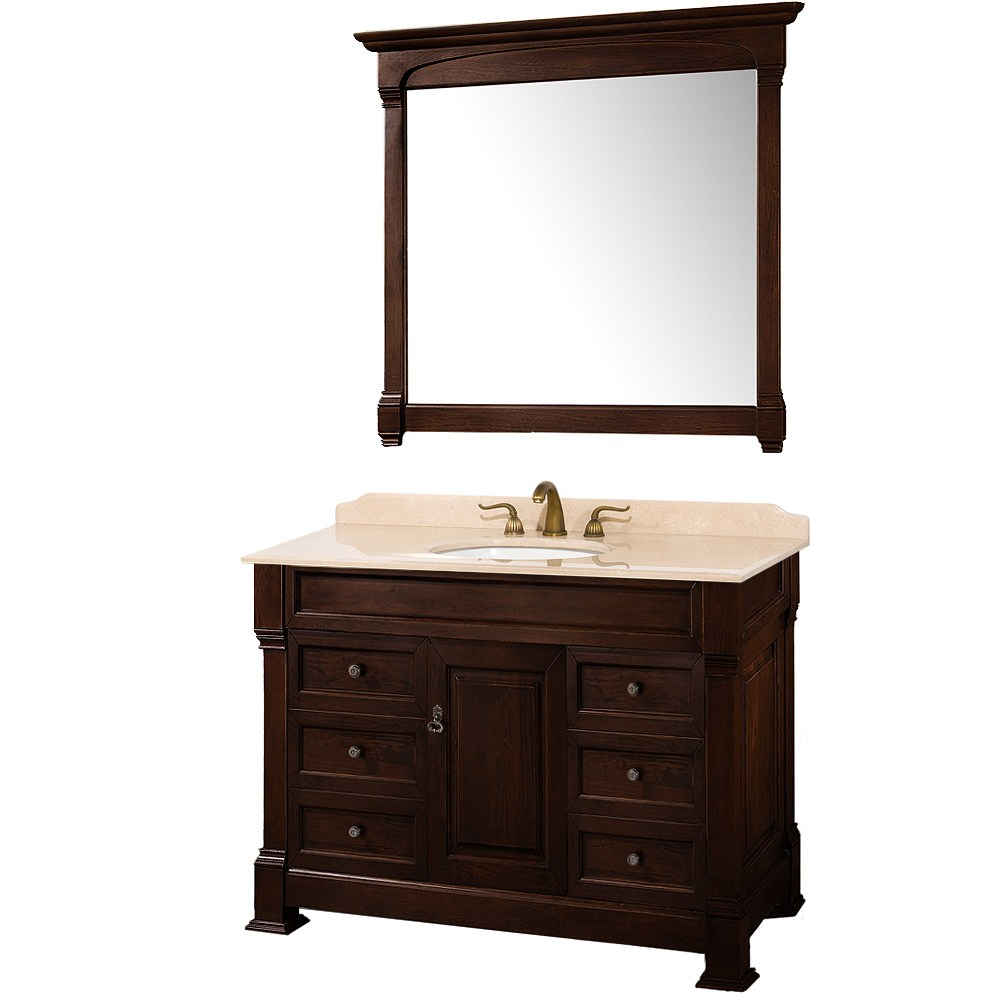 "Andover 48"" Traditional Bathroom Vanity Set by Wyndham Collection - Dark Cherry WC-TS48-DKCH"