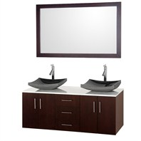 "Arrano 55"" Double Bathroom Vanity Set with Vessel Sinks by Wyndham Collection - Espresso WC-B400-55-ESP-OM"